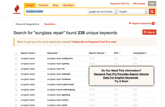 Keyword tool for sunglass repair - on-page SEO