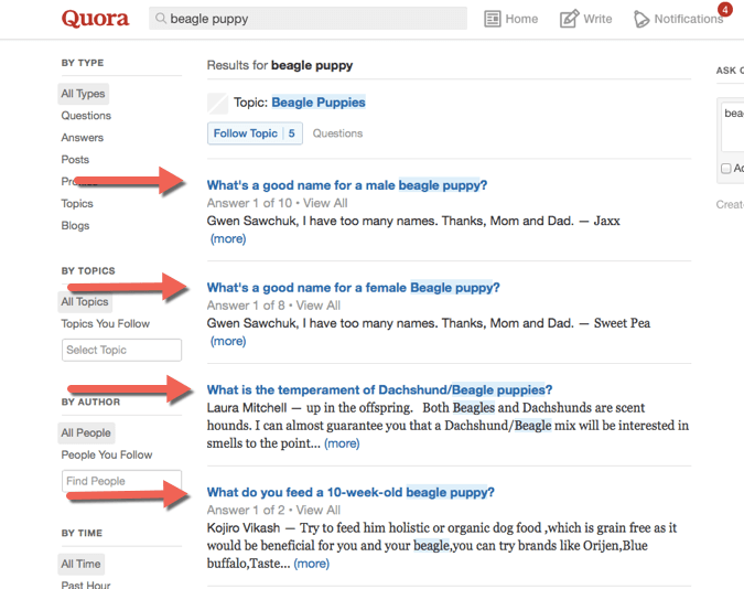Quora - beagle puppy example for on-page SEO tactic