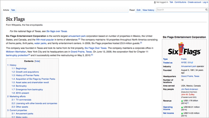 Six flags in wikipedia as example of usp