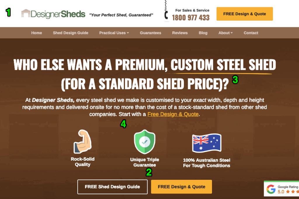 DesignerSheds Above The Fold Optimisation